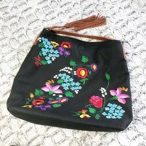 Handbags - Black Handbag Hobo style Floral Embroidered